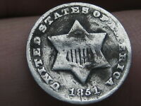 1851-O THREE 3 CENT SILVER TRIME- VG OBVERSE DETAILS