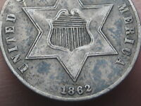 1862 THREE 3 CENT SILVER TRIME- VF DETAILS