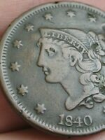 1840 BRAIDED HAIR LARGE CENT PENNY- VF/EXTRA FINE  DETAILS, LARGE DATE