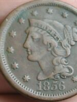 1856 BRAIDED HAIR LARGE CENT PENNY- SLANTED 5, VF DETAILS