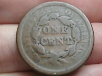 1843- 1857 BRAIDED HAIR LARGE CENT PENNY