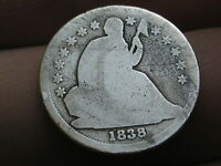 1838 P SEATED LIBERTY SILVER DIME- LARGE STARS