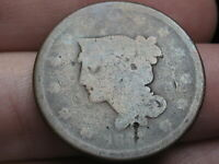 1841 BRAIDED HAIR LARGE CENT PENNY- BROTHEL TOKEN