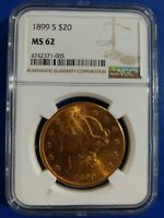 1899-S $20 LIBERTY GOLD  MINT STATE 62 NGC