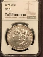 1878 S MINT STATE 61 NGC GRADED MORGAN SILVER DOLLAR