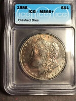 1888 P ICG MINT STATE 66 LY TONED AND CLASHED DIES MORGAN SILVER DOLLAR