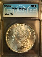 1885 ICG MINT STATE 62 VAM 35 PITTED FACE, DOUBLED EAR, MORGAN SILVER DDOLLAR