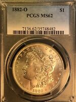 1882 O PCGS MINT STATE 62 VAM-7 DOUBLED 882, OPEN 2, O/O LOW TOP 100 MORGAN SILVER DOLLAR