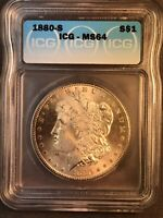 EXQUISITE 1880 S ICG MINT STATE 64 VAM 32 S/S AND DOUBLED DATE MORGAN SILVER DOLLAR
