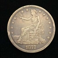 1877 S SEATED LIBERTY SILVER TRADE DOLLAR COIN   EF