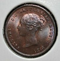 1843 COPPER HALF FARTHING WITH IRIDESCENT TONING