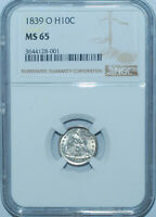 1839 O NGC MINT STATE 65 LIBERTY SEATED HALF DIME POP 2/3 LUSTROUS WHITE EXAMPLE
