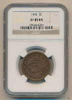 1845 BRAIDED HAIR LARGE CENT. NGC EXTRA FINE 45 BROWN