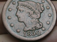 1850 BRAIDED HAIR LARGE CENT PENNY- VF DETAILS