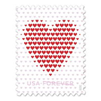 USPS NEW MADE OF HEARTS PANE OF 20