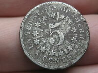 1866 SHIELD NICKEL 5 CENT PIECE- WITH RAYS, VG DETAILS