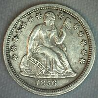 1856 SEATED LIBERTY SILVER DIME 10C US TYPE COIN EXTRA FINE  EXTRA FINE SMALL DATE