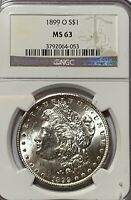 1899-O MORGAN SILVER DOLLAR NGC CERTIFIED MINT STATE 63