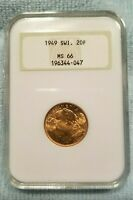 SWISS 1949 GOLD 20F   FRANC   HELVETIA   OLD NGC LABEL MS 66