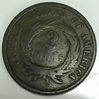 1865 TWO CENT PIECE COIN
