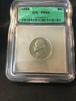 1955 PROOF JEFFERSON NICKEL ICG PR64