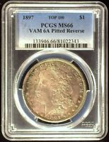 1897 VAM-6A TOP 100 PITTED REVERSE AOH PCGS MINT STATE 66 MORGAN DOLLAR [INV 1186]
