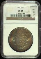 1882 VAM-1D2 PITTED REVERSE NGC MINT STATE 64 MORGAN DOLLAR [INV 662] OUTSTANDING TONER