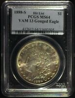 1888-S VAM-13 HIT LIST GOUGED EAGLE AOH PCGS MINT STATE 64 MORGAN DOLLAR [INV 1025]