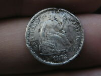 1872 S SEATED LIBERTY HALF DIME- MINTMARK ABOVE BOW, VF/EXTRA FINE  DETAILS