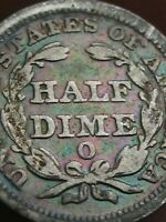 1850 O SEATED LIBERTY HALF DIME- VG/FINE DETAILS- RAINBOW TONING