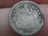 1849 O SEATED LIBERTY HALF DIME- VG DETAILS