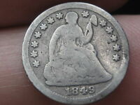 1849-O SEATED LIBERTY HALF DIME- VG/ GOOD DETAILS-  KEY DATE