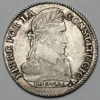 1839 PTS LM BOLIVIA POTOSI SILVER 8 EIGHT SOLES COIN