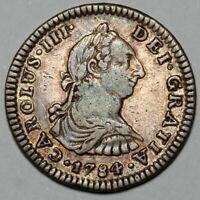 1784 MO FF CHARLES III MEXICO CITY SILVER 1 ONE REAL COIN