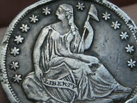 1838 SEATED LIBERTY HALF DIME- LARGE STARS, EXTRA FINE  DETAILS