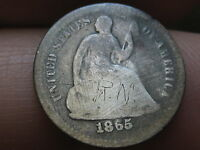 1865-S SEATED LIBERTY HALF DIME-  KEY DATE