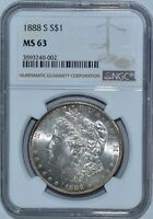 1888 S NGC MINT STATE 63 MORGAN SILVER DOLLAR