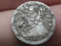 1853 O SEATED LIBERTY HALF DIME, OLD TYPE COIN