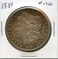 1881 $1 MORGAN SILVER DOLLAR. CIRCULATED. LOT 1614