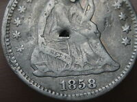 1858 P SEATED LIBERTY HALF DIME- VG/FINE DETAILS