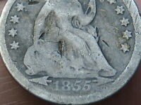 1855 P SEATED LIBERTY HALF DIME- WITH ARROWS