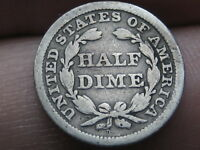 1845 P SEATED LIBERTY HALF DIME- VG DETAILS
