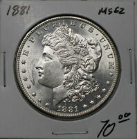 1881  SILVER MORGAN DOLLAR. LUSTROUS RAW UNC.  EXAMPLE . B20