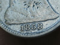 1858 P SEATED LIBERTY HALF DIME- VG DETAILS