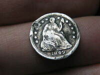 1849 O SEATED LIBERTY HALF DIME- FINE DETAILS