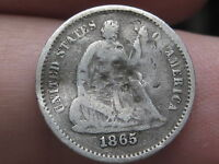 1865 S SEATED LIBERTY HALF DIME-   KEY DATE