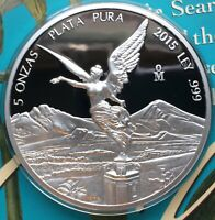2015 LIBERTAD PROOF .999 HUGE 5 OUNCE SILVER PROOF ONLY 1 60