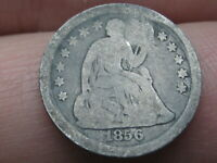 1856 P SEATED LIBERTY HALF DIME- GOOD DETAILS