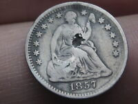 1857 P SEATED LIBERTY HALF DIME- FINE DETAILS