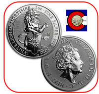 2020 QUEEN'S BEAST WHITE LION OF MORTIMER 2 OZ SILVER COIN IN DIRECT FIT CAPSULE